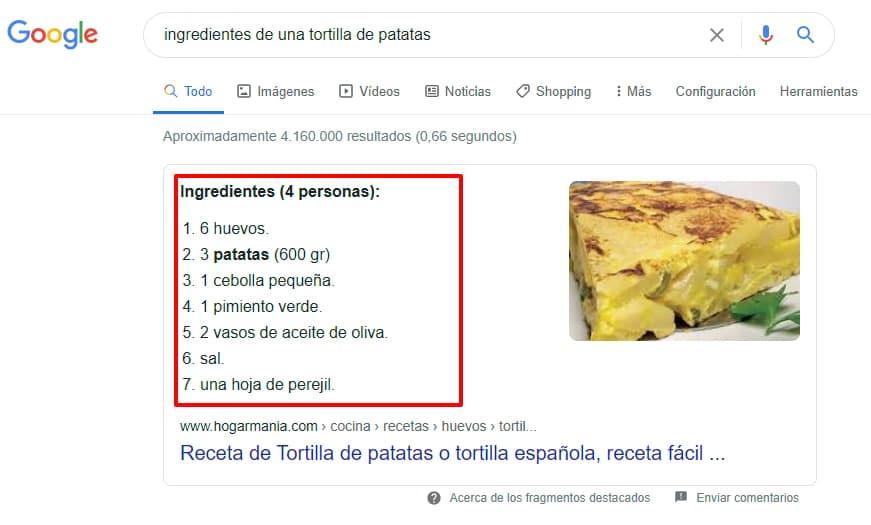 Snippet de ingredientes de tortilla de patatas