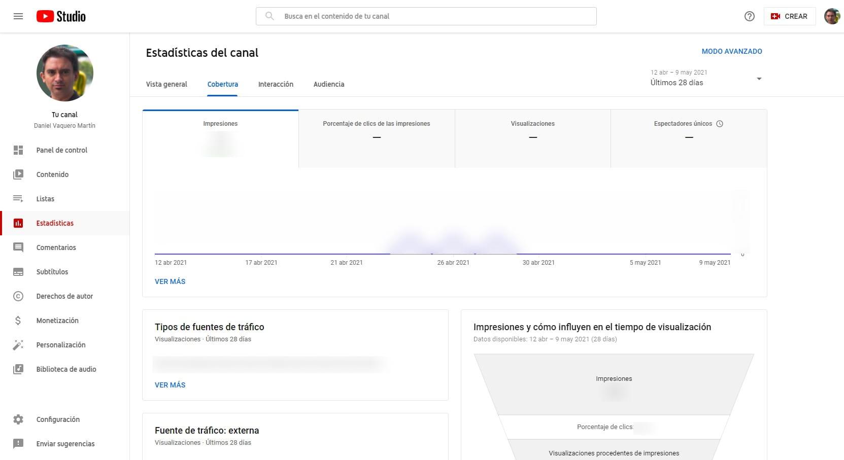 Pantalla de cobertura en Estadísticas de YouTube Studio