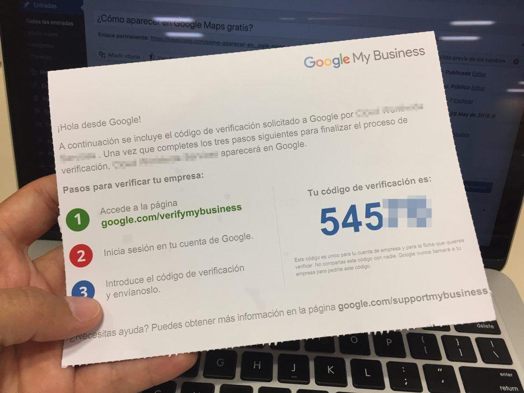 Tarjeta postal de verificación de google maps