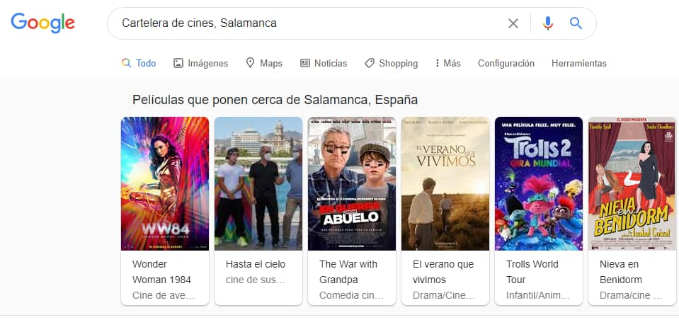 Resultados de la búsqueda de cartelera de cines en Salamanca
